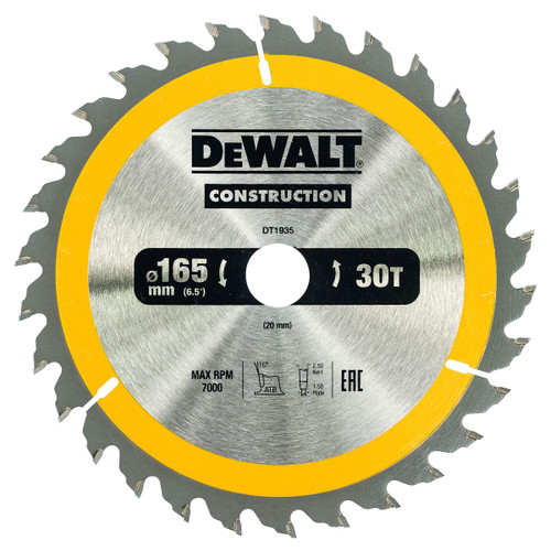 Dewalt DT1935 Construction Circular Saw Blade 165mm x 20mm x 30T