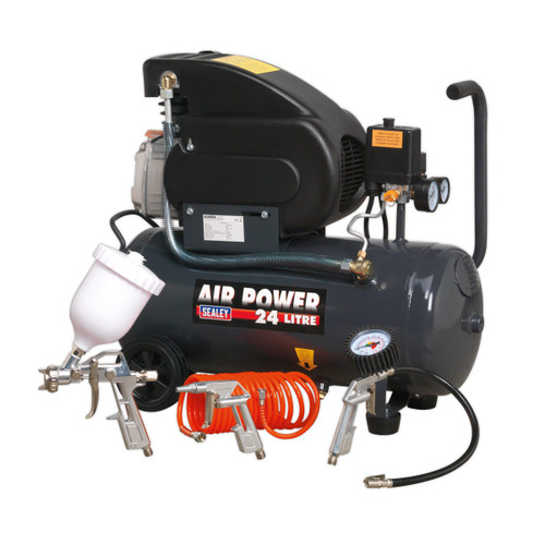 Buy Sealey SAC2420EPK Compressor 24 Litre Direct Drive 2HP with 4 Piece Air Accessory Kit for GBP104.17 at Toolstop
