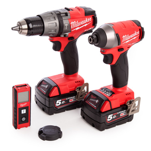 Milwaukee M18FPP3G-502X M18 Fuel Cordless Powerpack M18 FPD Drill+M18 FID Imp Driver+LDM 30 Laser+BTM1 Tick 2 x 5.0Ah Batteries - 6