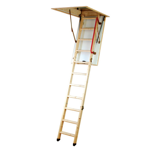 Youngman 345350 Eco 'S' Line 3 Section Timber Folding Loft Ladder - 1
