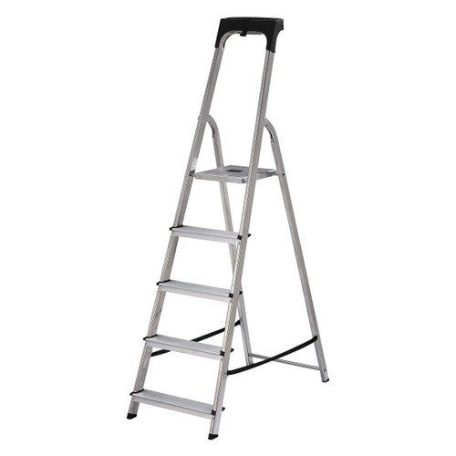 Buy Werner 74105 High Handrail Stepladder With Tool Tray 5 Tread (1.03m) at Toolstop