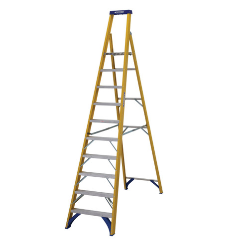Buy Werner 71710 Fibreglass Platform Stepladder Trade 10 Tread (2.33m) at Toolstop