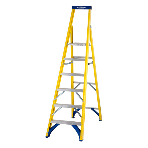 Werner 71706 Fibreglass Platform Stepladder Trade 6 Tread (1.41m) - 2