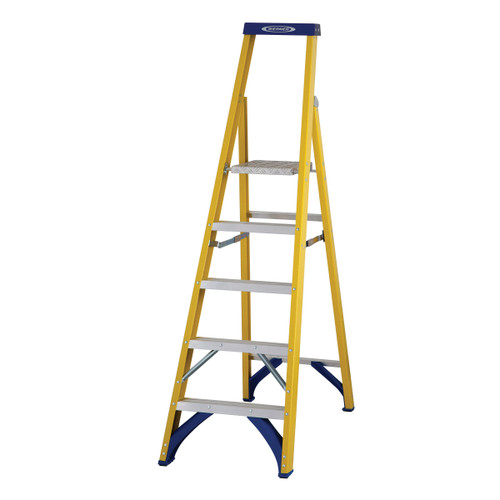 Werner 71705 Fibreglass Platform Stepladder Trade 5 Tread (1.17m) - 2