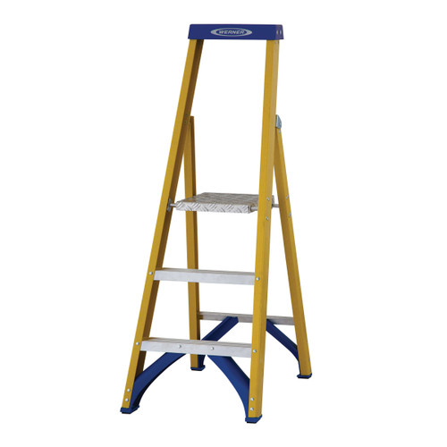 Werner 71703 Fibreglass Platform Stepladder Trade 3 Tread (0.69m) - 2