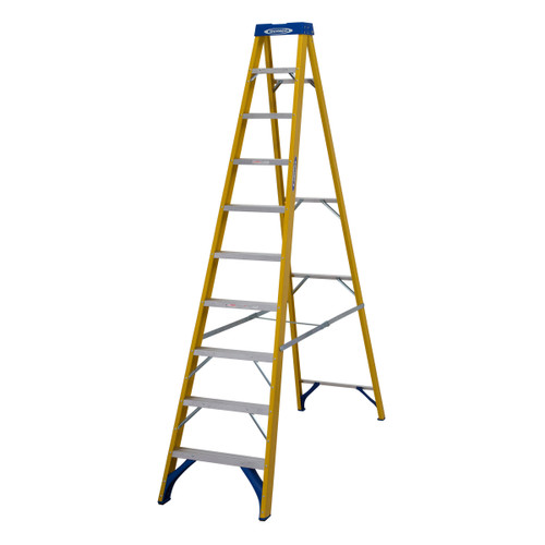Buy Werner 71610 Fibreglass Swingback Stepladder Trade 10 Tread (2.79m) at Toolstop