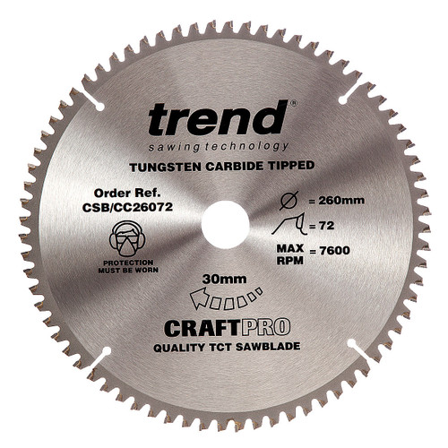 Trend CSB/CC26072 CraftPro Saw Blade Crosscut 260mm x 30mm x 72T - 5
