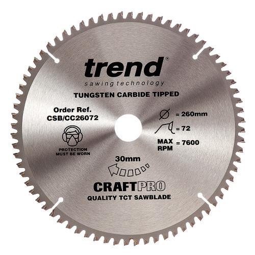 Trend CSB/CC26072 CraftPro Saw Blade Crosscut 260mm x 30mm x 72T - 5