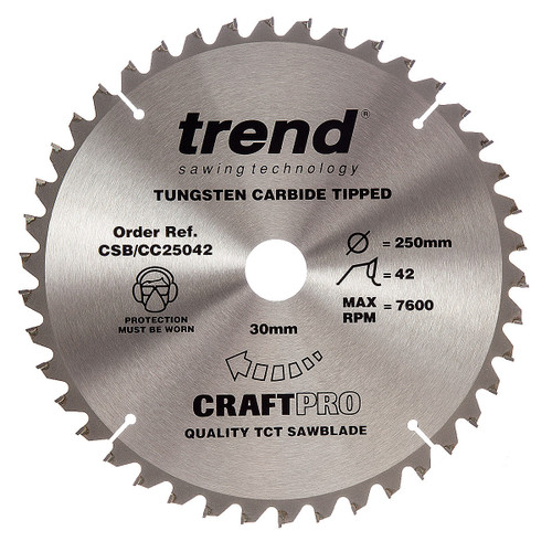 Trend CSB/CC25042 CraftPro Saw Blade Crosscut 250mm x 30mm x 42T - 5