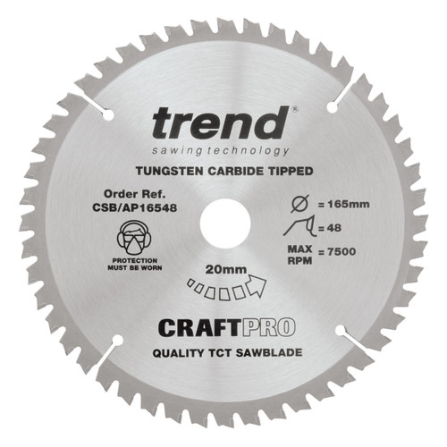 Trend CSB/AP16548 CraftPro TCP Saw Blade 165mm x 20mm x 48T - 1