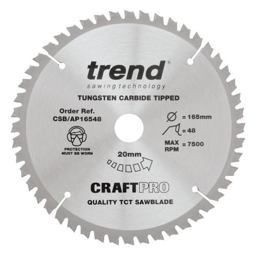 Trend CSB/AP16548 CraftPro TCP Saw Blade 165mm x 20mm x 48T - 1