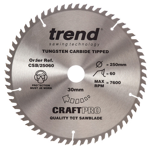 Trend CSB/25060 CraftPro Saw Blade 250mm x 30mm x 60T - 5
