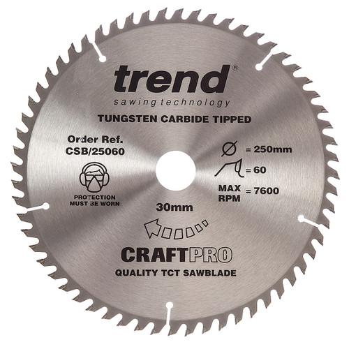 Trend CSB/25060 CraftPro Saw Blade 250mm x 30mm x 60T - 5