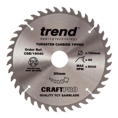 Trend CSB/19040 CraftPro Saw Blade 190mm x 30mm x 40T - 5