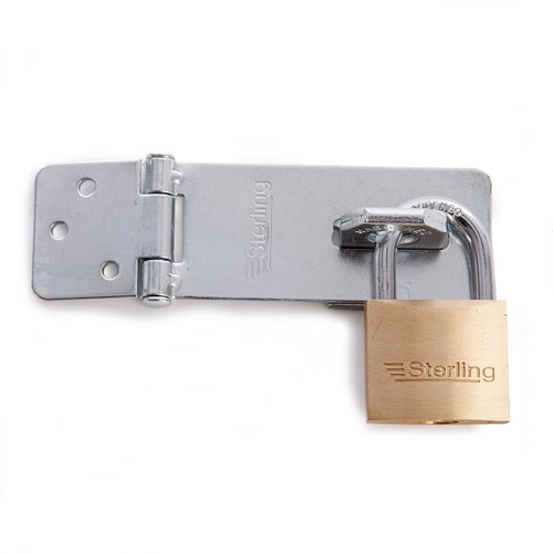 Sterling PHS002 Brass Padlock With Hasp and Staple (BPL042+EHS095) - 2