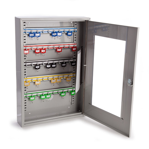 Sterling KC50HD Grey Key Cabinet With Clear Perspex Window - 50 Hooks  - 2