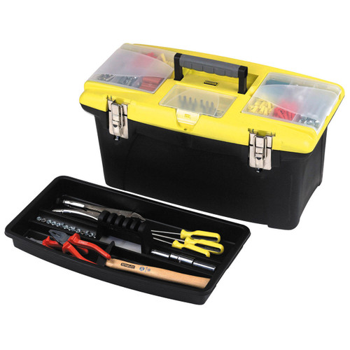 "Buy Stanley 1-92-906 19"" Jumbo Tool Box with 2 Pull Out Organizers, Bit Holder and Metal Latches at Toolstop"