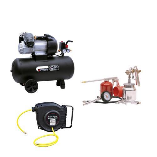 SIP 06242TS Airmate TN3.0/50-D Compressor With 04947 5 Piece Air Accessory Kit & 07972 Super Major Air Hose Reel - 3