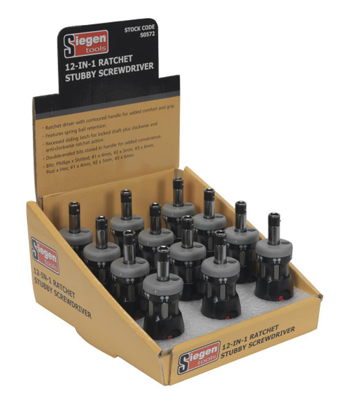 Buy Siegen S0572 12-in-1 Ratchet Stubby Screwdriver Set (Display Box Of 12) at Toolstop