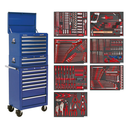 Buy Sealey TBTPCOMBO5 Tool Chest Combination 14 Drawer With Ball Bearing Runners - Blue & 446 Piece Tool Kit at Toolstop