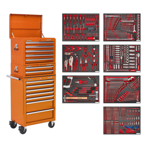Buy Sealey TBTPCOMBO4 Tool Chest Combination 14 Drawer With Ball Bearing Runners - Orange & 446pc Tool Kit at Toolstop