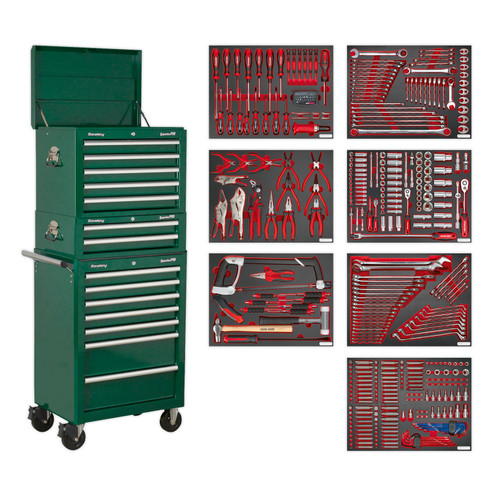 Buy Sealey TBTPCOMBO3 Tool Chest Combination 14 Drawer With Ball Bearing Runners - Green & 446pc Tool Kit at Toolstop