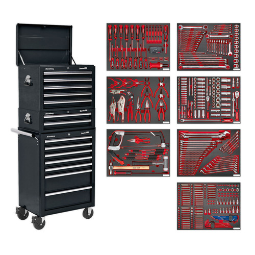 Buy Sealey TBTPCOMBO2 Tool Chest Combination 14 Drawer With Ball Bearing Runners - Black & 446pc Tool Kit at Toolstop