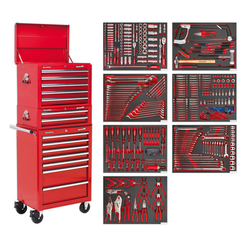 Buy Sealey TBTPCOMBO1 Tool Chest Combination 14 Drawer With Ball Bearing Runners - Red & 446pc Tool Kit at Toolstop