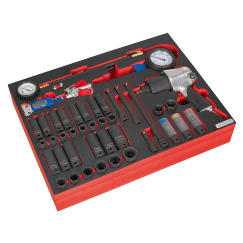 Buy Sealey TBTP08 Tool Tray With Impact Wrench, Sockets & Tyre Tool Set 42pc at Toolstop