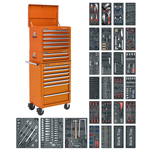 Buy Sealey SPTOCOMBO1 Tool Chest Combination 14 Drawer With Ball Bearing Runners - Orange & 1179pc Tool Kit at Toolstop