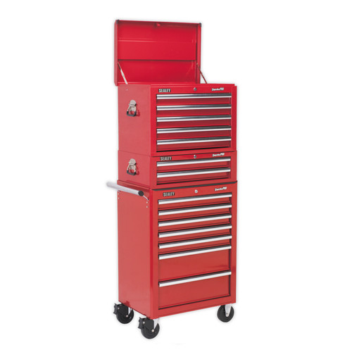 Sealey SPTCOMBO1 Tool Chest Combination 14 Drawer - Ball Bearing Runners - Red With 1179pc Tool Kit - 1