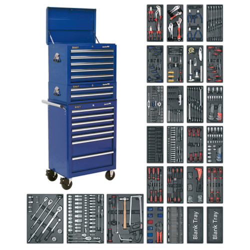 Buy Sealey SPTCCOMBO1 Tool Chest Combination 14 Drawer With Ball Bearing Runners - Blue & 1179pc Tool Kit at Toolstop