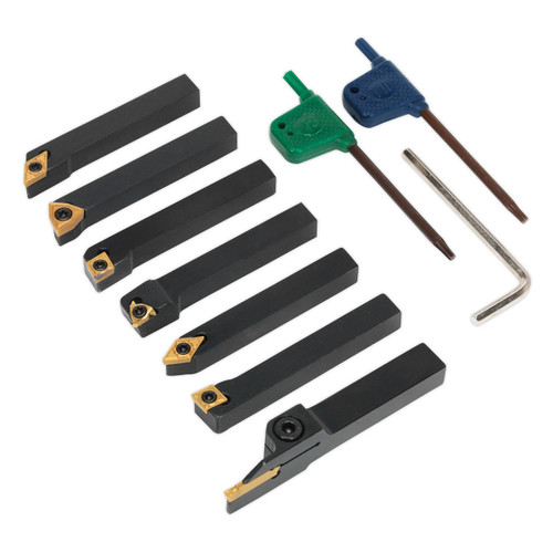 Buy Sealey SM3025CS5 Indexable 8mm Lathe Turning Tool Set 7pc at Toolstop