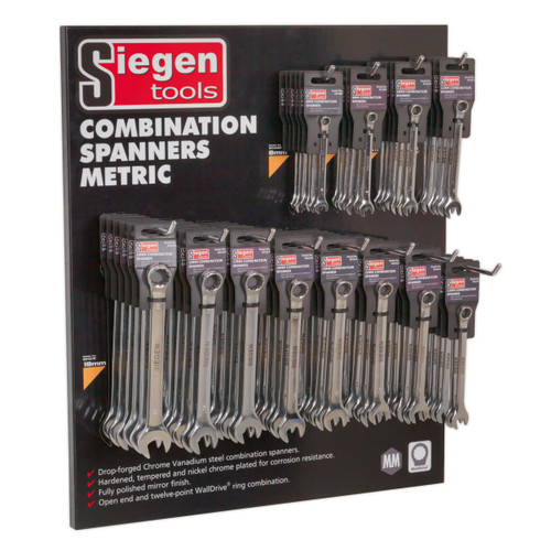 Buy Sealey SIEGEN PAC 1 Display Panel With 8-19mm Spanners at Toolstop