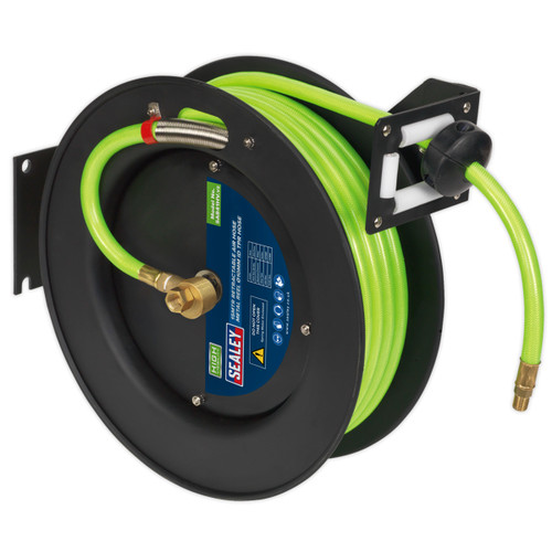 Buy Sealey SA841HV Retractable Air Hose Metal Reel 15mtr, 10mm ID High Visibility TPR Hose at Toolstop
