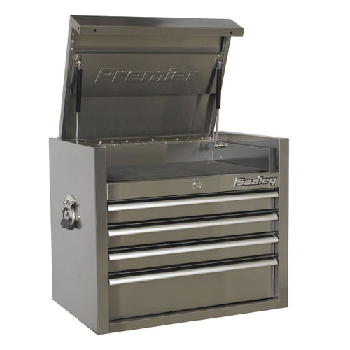 Buy Sealey PTB66004SS Topchest 4 Drawer 675mm Stainless Steel Heavy-Duty at Toolstop
