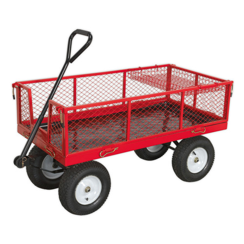 Buy Sealey CST806 Platform Truck With Sides Pneumatic Tyres 450kg Capacity at Toolstop