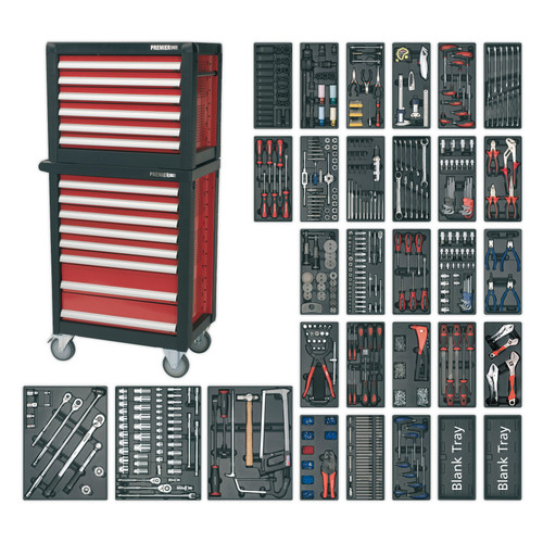 Buy Sealey APTTC02 Topchest & Rollcab Combination 14 Drawer With 1233pc Tool Kit at Toolstop