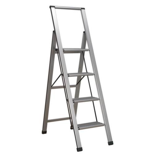 Buy Sealey APSL4 Aluminium Professional Folding Step Ladder 4-step 150kg Capacity at Toolstop