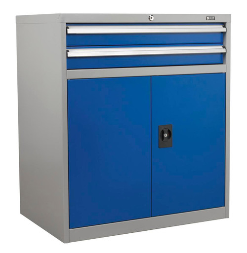 Buy Sealey API8810 Industrial Cabinet 2 Drawer & 1 Shelf Double Locker at Toolstop