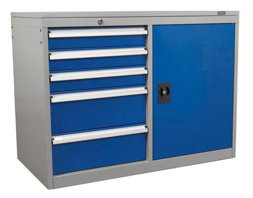 Buy Sealey API1103B Industrial Cabinet/workstation 5 Drawer & 1 Shelf Locker at Toolstop