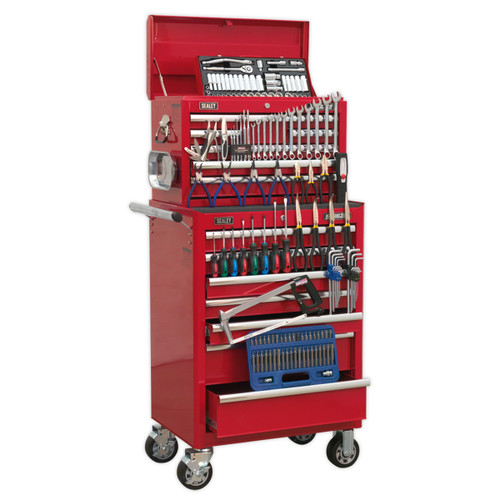 Buy Sealey APCOMBOBBTK57 Topchest & Rollcab Combination 15 Drawer With Ball Bearing Runners - Red & 147pc Tool Kit at Toolstop