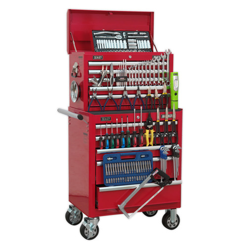 Buy Sealey APCOMBOBBTK55 Topchest & Rollcab Combination 10 Drawer With Ball Bearing Runners - Red & 147pc Tool Kit at Toolstop