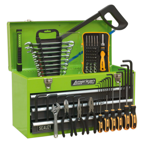 Buy Sealey AP9243BBHVCOM Portable Tool Chest 3 Drawer With Ball Bearing Slides (93 Piece) - Hi-Vis Green at Toolstop