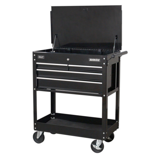 Buy Sealey AP850MB Heavy-Duty Mobile Tool & Parts Trolley With 4 Drawers & Lockable Top (Black) at Toolstop