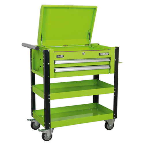 Buy Sealey AP760MHV Heavy-Duty Mobile Tool & Parts Trolley 2 Drawers & Lockable Top (Hi-Vis Green) at Toolstop