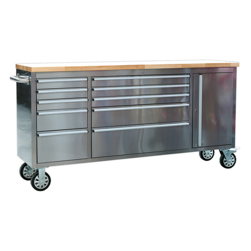 Buy Sealey AP7210SS Mobile Stainless Steel Tool Cabinet 10 Drawer & Cupboard at Toolstop