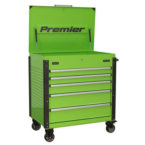 Buy Sealey AP5MHV Tool Trolley 5 Drawer Heavy-Duty (Hi-Vis Green) at Toolstop