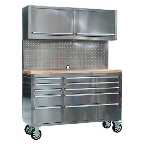 Buy Sealey AP5520SS Mobile Stainless Steel Tool Cabinet 10 Drawer With Backboard & 2 Wall Cupboards at Toolstop