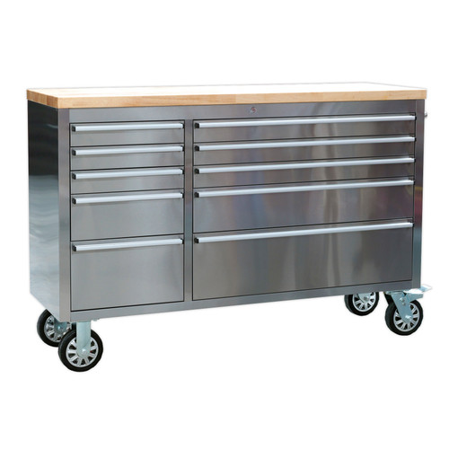 Buy Sealey AP5510SS Mobile Stainless Steel Tool Cabinet 10 Drawer at Toolstop